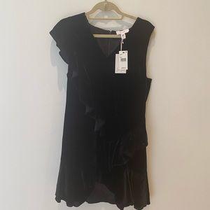 Brand new Scripted black velvet ruffle dress